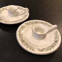 White Round Mikasa China Montclair G9059 Candle Holders Free Shipping Green - $20.00
