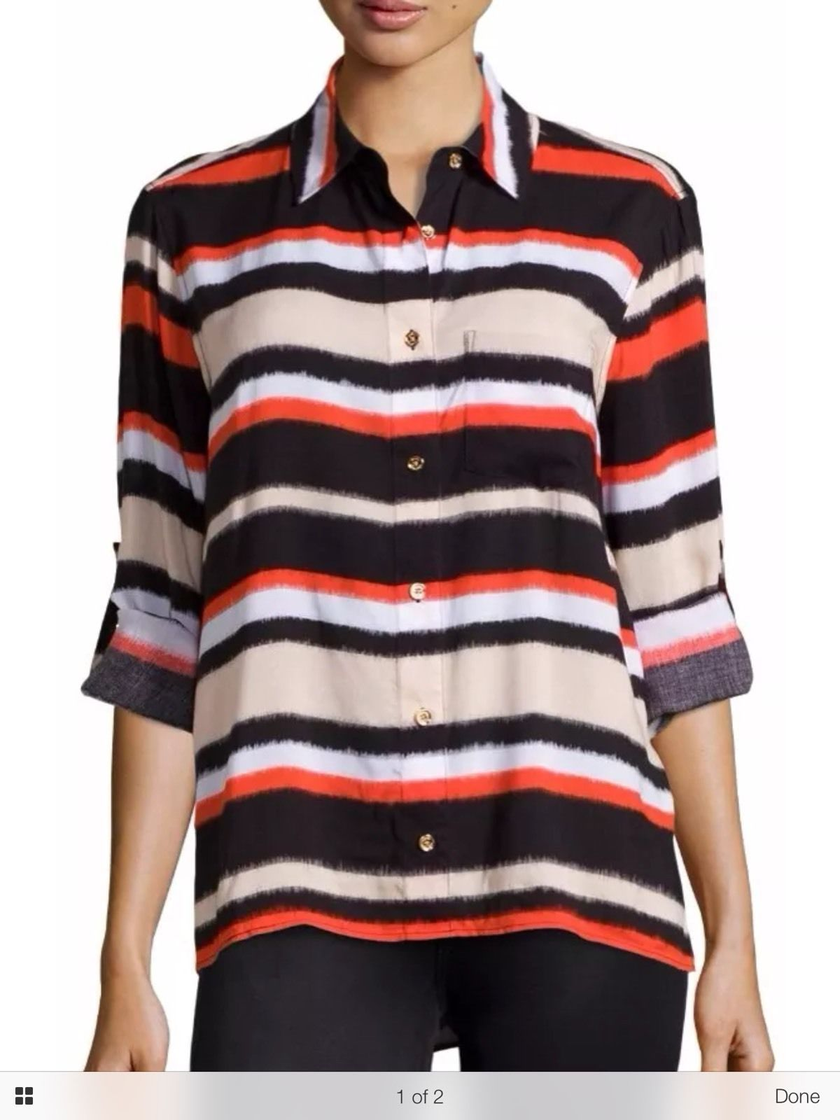 Michael Kors Striped Button Front Shirt Top Blouse In Cherry Tomato Red Medium