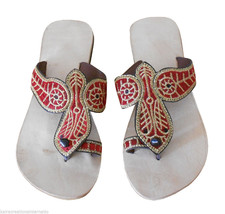 Women Slippers Indian Handmade Traditional Flip-Flops Flat Cream US 5  - $24.99