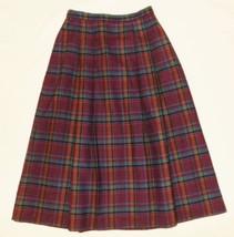Vtg LL Bean Wool Skirt Pleated Plaid 4 S Purple Blue Midi Tartan England - $17.99