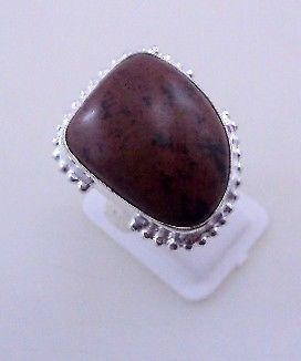 Primary image for 11 Gr Mahagony Obsidian Stone Silver Overlay Handmade Jewelry Ring Size 9