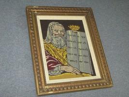 Vintage Fine Needlepoint Hand Made Moses Ten Commandments Torah Framed - £59.47 GBP