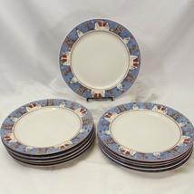 """Sakura Debbie Mumm Snowman Dinner Plates 11"""" Lot of 11 - $87.22"""