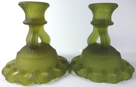 """1960's Westmoreland Glass Olive Green Satin Mist Doric 4.5""""t Candle Holder Pair - $49.99"""