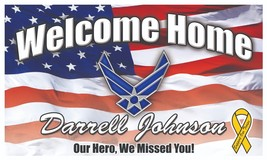"""Air Force - Welcome Home Banner - 21"""" x 36"""" Personalize with Name and Me... - ₨1,297.96 INR"""