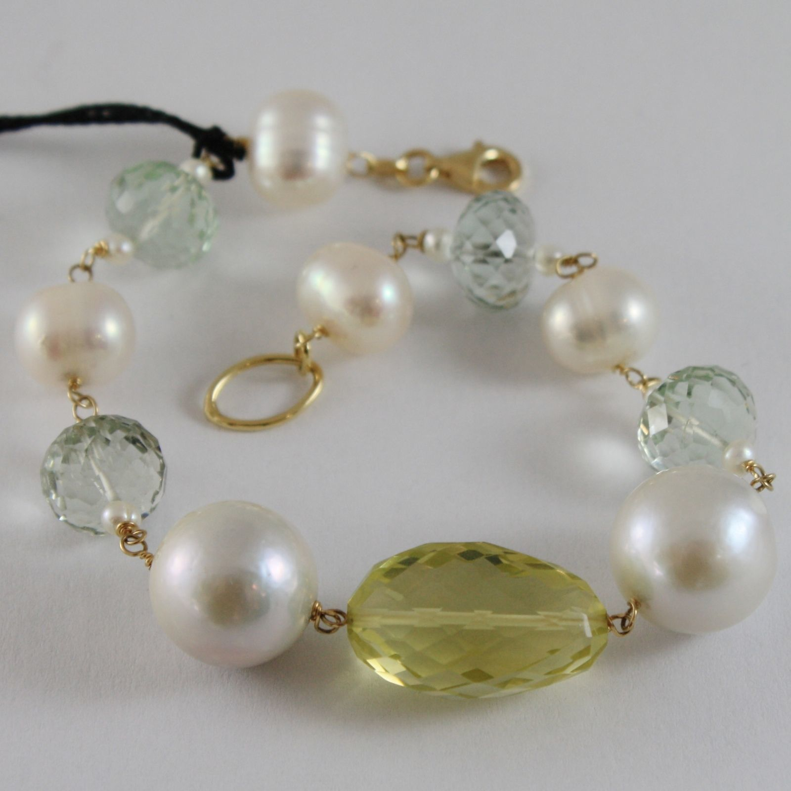 18K YELLOW GOLD BRACELET BIG WHITE PEARLS PRASIOLITE LEMON QUARTZ MADE IN ITALY