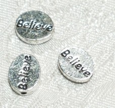 Oval BELIEVE Word  FINE PEWTER DISC BEAD 11mm L x 9mm W x 3mm D Hole 1.5m