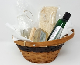 Organic Bath Gift Basket Natural Liquid Bar Soap Loofah - $34.95