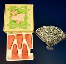 GL051 Vintage AVON 1974 HOSTESS FANCY Victorian Glass Fan Soap Dish & Soap - $14.85
