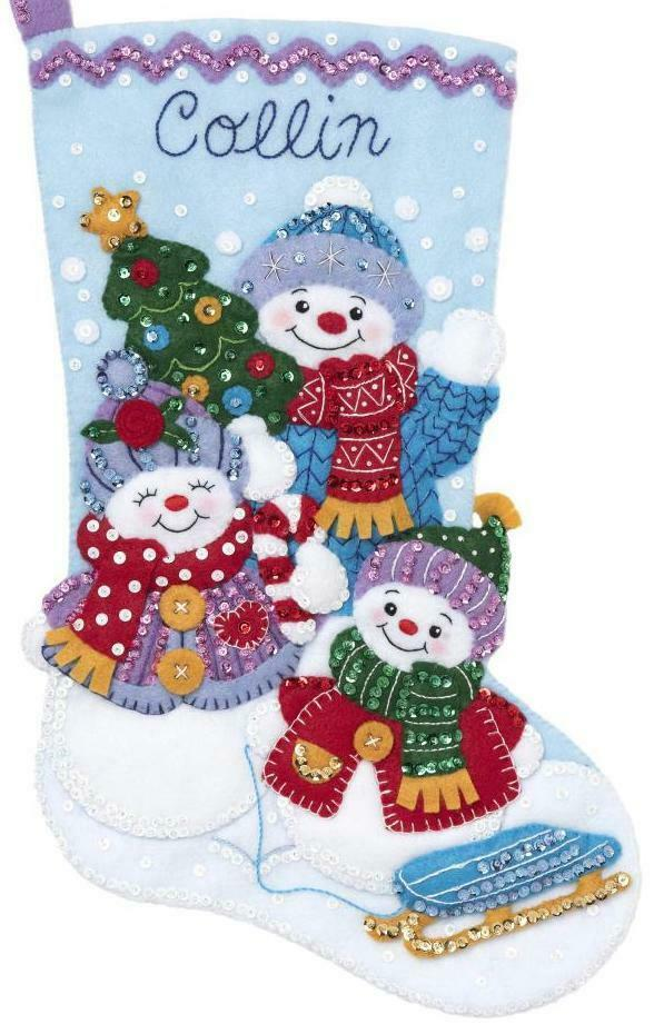 Primary image for Bucilla Snow Family Portrait Snowman Christmas Holiday Felt Stocking Kit 89232E