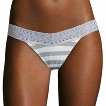 Flirtitude Women's Thong Panties Size X-Small Gray White Rugby Stripe La... - $11.87