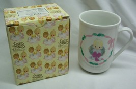 "VINTAGE 1991 Precious Moments CHRISTMAS WREATH Boy 4"" MUG CUP NEW w/ Box - $18.32"