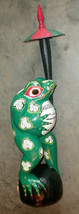 Frog Statue Large 20 inch with umbrella Hand carved in Bali Bright colors - $125.00