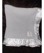 Little Giraffe Baby Blanket Solid Grey Sherpa White Polka Dot Satin Trim - $29.47