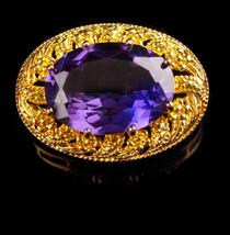 Vintage Alexandrite brooch - blue Amethyst color - large faceted stone -... - $295.00