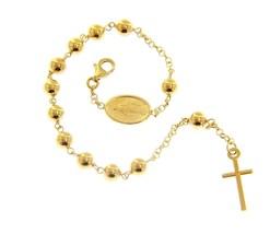 18K YELLOW GOLD  ROSARY BRACELET, 5 MM SPHERES, CROSS & MIRACULOUS MEDAL image 1