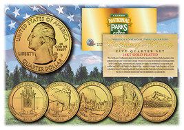 2010 America The Beautiful 24K GOLD PLATED Quarters Parks 5-Coin Set w/C... - $12.82