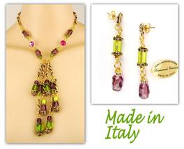 Authentic Italian Made Venetian Murano Glass Jewelry Set: Necklace & Earrings - $206.10