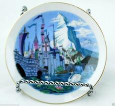 Disneyland's Sleeping Beauty Castle tiny plate gold gilt rim vintage sou... - $31.63