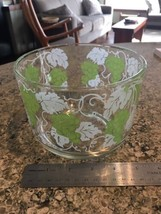 ICE BUCKET Vintage Glass Green Grapes White Leaves Ice Bucket Bowl bx32 - $17.07