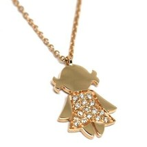 Collar con Colgante Chica, Oro Rosa 750 18K, Diamantes, Cadena Rolo - $674.12