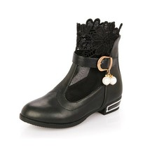 Toddler girls Printed Toe Black Lace Flower boot shoes size 10 - $15.50
