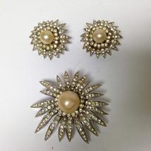 Vintage, Rare, Sunburst, Pearls, Rhinestones 3pc Brooch and Clip Earring... - $18.95