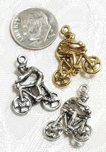 BICYCLE AND CYCLIST FINE PEWTER PENDANT CHARM 17mm L x 21mm W x 6.5mm D image 2
