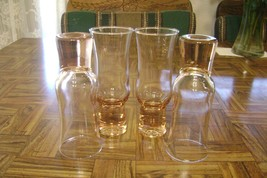Lot of 4 Pink Champagne or Juice Glasses Toasting Flutes Solid Bases Tul... - $22.87