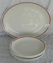 Vintage 6 Pieces Homer Laughlin Ambassador Red Gold Stripe Oval Platters... - $49.99