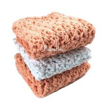 Handmade Kitchen Dish Cloths Peach Coral White Crochet Cotton Dishcloth ... - $18.75