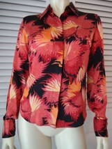 BCBG MAXAZRIA Silk Floral Top Blouse 4 Long Sleeves French Cuffs Hidden Buttons - $44.55