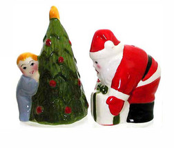 CLAY ART Collectibles Salt & Pepper Christmas Eve Child spying on Santa ... - $19.90
