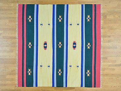 "8'1""x8' Hand Woven Southwest Design Flat Weave Killim Square Rug G26051"