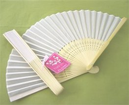 Silk Fan - White - Baby Shower Gifts & Wedding Favors (Set of 24) - $37.83