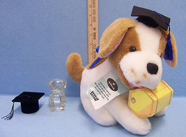 Hallmark Graduation Plush Stuffed Dog Paperweight Hat Shaped Ring Holder... - $17.86