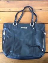 Coach Black Genuine Leather Chrome Shiny Zippers Handbag Shoulder Purse - $79.99