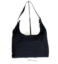 Auth SALVATORE FERRAGAMO Black Nylon & Leather Hobo Shoulder Bag ITALY A... - $147.51