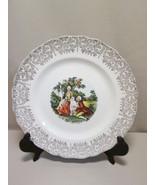 Collector Plate Victorian Romantic Scene 22 Kt Gold Scallop Rim - $7.95