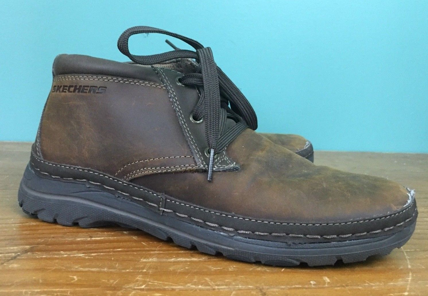 d2a56689ac S l1600. S l1600. Previous. Skechers USA Men's Selected Renton Chukka Boots  - Size 8 - Brown Leather ...