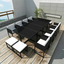 vidaXL Garden Dining Set 33 Piece Poly Rattan Wicker Black Outdoor Chair... - $760.99
