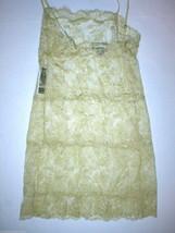 NWT New Designer Josie Natori Night Gown Chemise Lace Gold Sheer Sexy Li... - $130.00