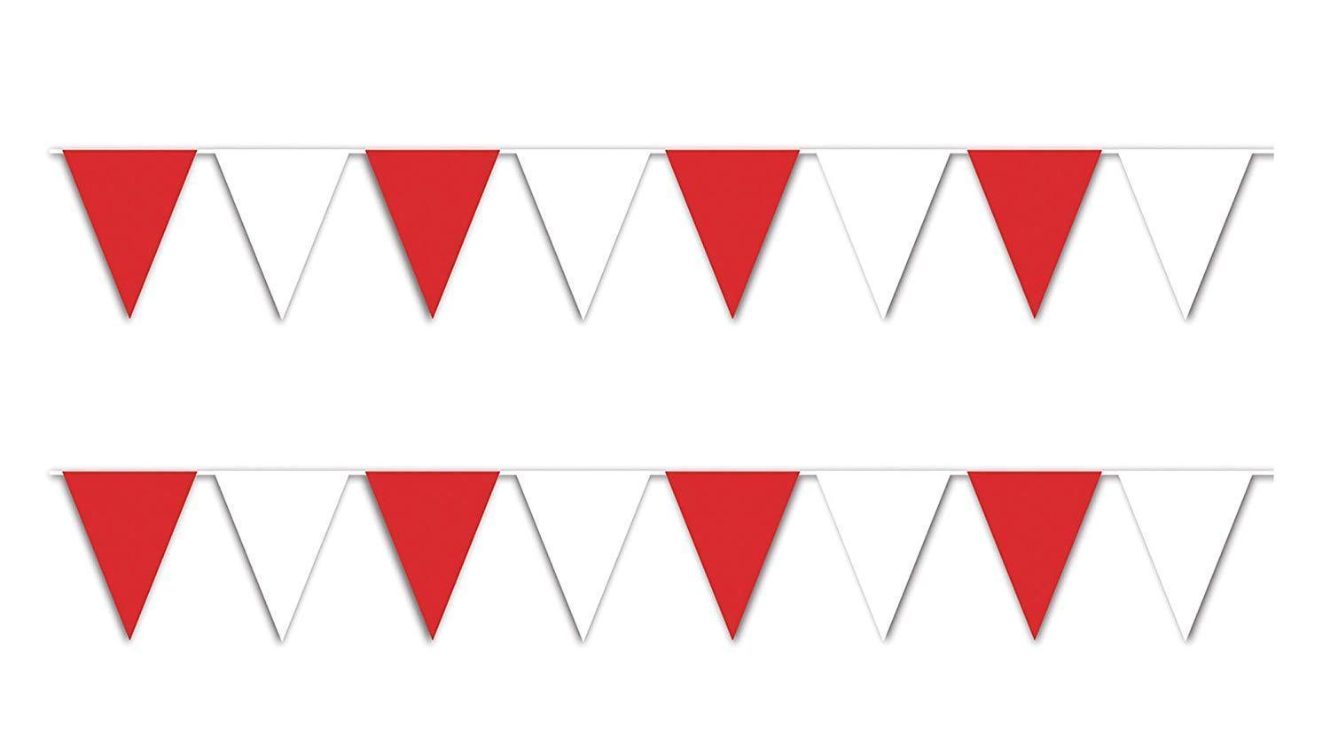 30 ft heavy duty Outdoor All Weather red white Pennant Banner flags decoration