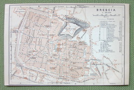 1903 MAP ORIGINAL Baedeker - ITALY Brescia City Plan - $4.73