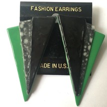 Vintage 1980s Big Funky Triangle Earrings Pierced Statement Green Shapes - $19.75
