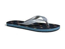 NWT COACH Womens Zak Flip Flop Signature Rubber Cute Slippers Navy Silve... - $42.00