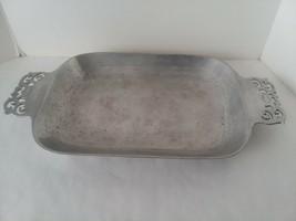 Vintage Nambe 214 Silver Alloy Ornate Handled Serving Platter Decor - $20.78