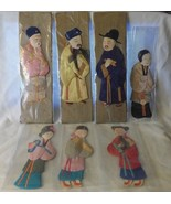 7 Chinese Silk People Costumes Trapunto Applique Made in China Before 1949 - $99.00