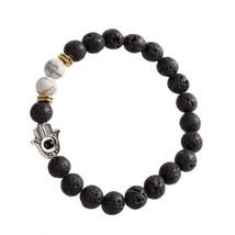 Handmade Evil Eye Hamsa Amulet Black Lava Stone 8mm Beads Strand Elastic... - $19.47