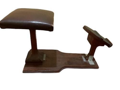 Primitive Vintage Handmade Wood Shoe Shine Stand Stool Post Footrest Foot Rest